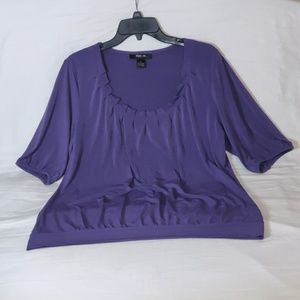 Style & Co. Purple Pleated Neckline Blouse
